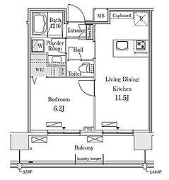 新交通ゆりかもめ 新豊洲駅 徒歩22分の賃貸マンション 3階1LDKの間取り