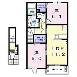 群馬県伊勢崎市境新栄の賃貸アパートの間取り
