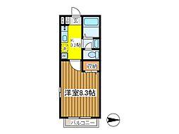 東京都府中市八幡町1丁目の賃貸アパートの間取り