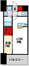 LIFEFIELD二日市駅前 9階1LDKの間取り