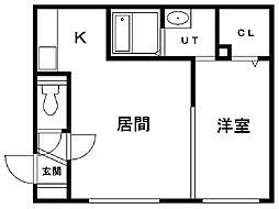 グランメール新道東駅北 4階1LDKの間取り