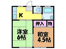 愛媛県東温市横河原の賃貸アパートの間取り