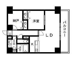 西辻マンション 6階1SLDKの間取り