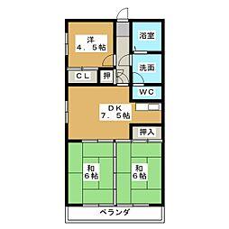 愛知県名古屋市港区善南町の賃貸マンションの間取り