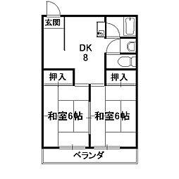 サンハイツ西ノ京[4階]の間取り