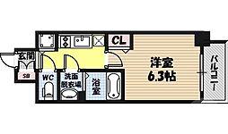 アドバンス大阪城北ルミウス 8階1Kの間取り