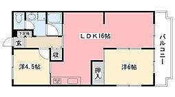 ロイヤルハイツ松井[203号室]の間取り
