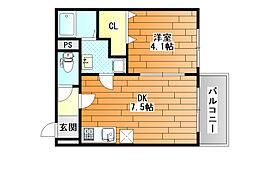 近鉄南大阪線 藤井寺駅 徒歩3分の賃貸マンション 2階1DKの間取り