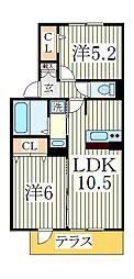 プロシード青葉台B[2階]の間取り