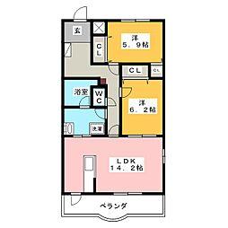 リューボヌール2[3階]の間取り