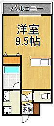 ブランTAT西宮甲子園口2 2階ワンルームの間取り