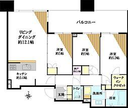 シティタワー武蔵小杉 19階3LDKの間取り