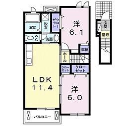 レインボーハウスII A[2階]の間取り