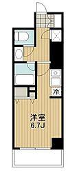 HF駒沢公園レジデンスTOWER 6階ワンルームの間取り