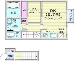 sentreeva 2階1DKの間取り