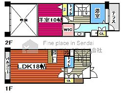 仙台市営南北線 勾当台公園駅 徒歩6分の賃貸マンション 9階1LDKの間取り