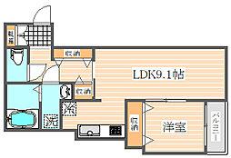 福岡県福岡市博多区堅粕4丁目の賃貸アパートの間取り