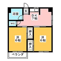 醍醐ハイツ[3階]の間取り