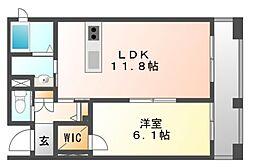 岡山県岡山市北区柳町2丁目の賃貸アパートの間取り