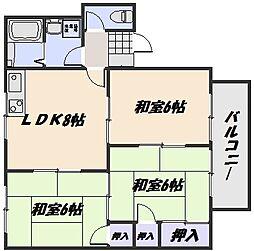 ソレアード東野A棟[1階]の間取り