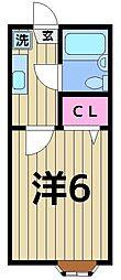 クレール西新井[203号室]の間取り