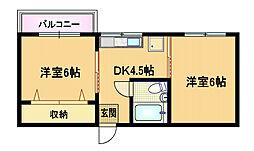 奥村第3マンション[2階]の間取り