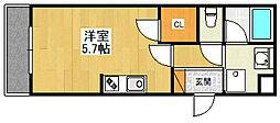 甲子園ガーデンズ 2階1Kの間取り