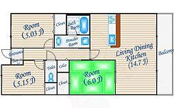 フロウスリーブ西村2番館 3階2SLDKの間取り