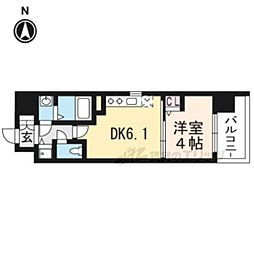 京都地下鉄東西線 太秦天神川駅 徒歩6分の賃貸マンション 5階1DKの間取り