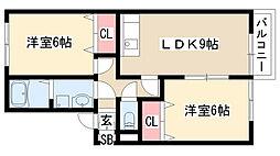 愛知県名古屋市緑区兵庫1丁目の賃貸アパートの間取り