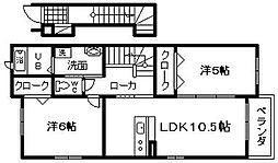 JR阪和線 久米田駅 3.1kmの賃貸アパート 2階2LDKの間取り