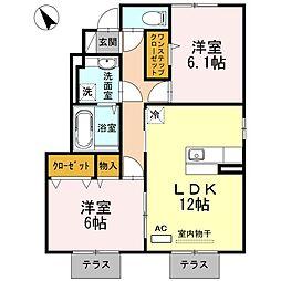 兵庫県加西市北条町東高室の賃貸アパートの間取り