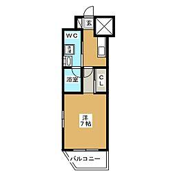 ベルグレードKAMEIDO 5階1Kの間取り