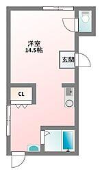 京阪本線 萱島駅 徒歩8分の賃貸マンション 2階ワンルームの間取り