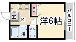 フラワーハイツ新伊丹[202号室]の間取り