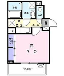 グランディア 矢田 2階1Kの間取り