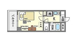 家具・家電付き朝日プラザ博多6 B[11階]の間取り