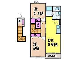 愛媛県伊予市尾崎の賃貸アパートの間取り