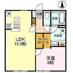 長野県松本市横田4丁目の賃貸アパートの間取り