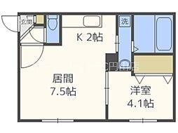 SUONO南円山 1階1DKの間取り