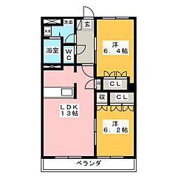 BLUE TERRA[2階]の間取り