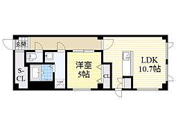 札幌市営南北線 麻生駅 徒歩10分の賃貸マンション 2階1LDKの間取り