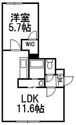 パトラス東札幌[1階]の間取り