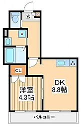 エバーグリーンフォレスト 1階1DKの間取り