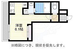 福岡市地下鉄空港線 大濠公園駅 徒歩5分の賃貸マンション 8階ワンルームの間取り