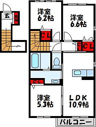 JR鹿児島本線 赤間駅 徒歩8分の賃貸アパート 2階3LDKの間取り