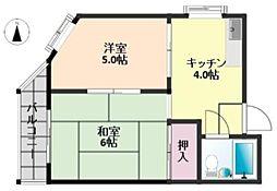 浅井コーポ[4階]の間取り