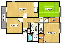 京都府京都市西京区川島調子町の賃貸アパートの間取り