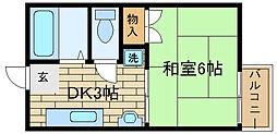 兵庫県神戸市須磨区関守町1丁目の賃貸アパートの間取り