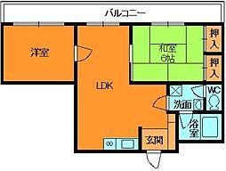 奈良県生駒郡斑鳩町興留7丁目の賃貸マンションの間取り